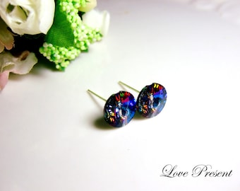 Supreme Swarovski Crystal Stud Button Chic Earrings - Pefect Gift. Everyday Jewelry - Color Heliotrope(Blue,Purple,Red,Yellow shine effect)