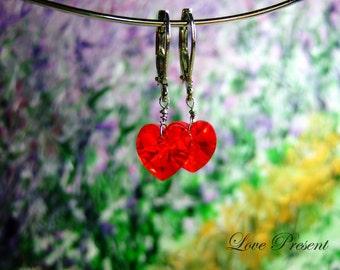 Cyber Monday Swarovski Crystal  Dangle & Chandelier Heart Earrings