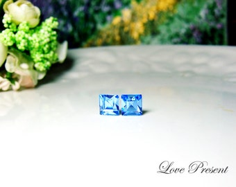 Swarovski Crystal Stud Chic Square Post Earrings - Color Light Sapphire - Hypoallergenic or Metal post - Choose your post
