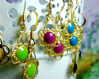 Cyber Monday 30% Special Sale - Vintage Hollywood Style Colorful Earrings - Choose your color
