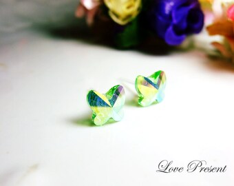 Beautiful Butterfly Swarovski Crystal earrings stud style - Color Peridot Aurore Broreale - Choose your post