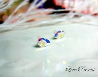 Petite Cool TearDrop Swarovski Crystal earrings stud style - Color Clear Crystal Aurore Boreale AB