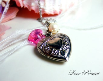 Valentine's Day Gift -Triple sweetie heart Locket Necklace with Swarovski Crystal Heart and Freshwater Pearl - Choose your color