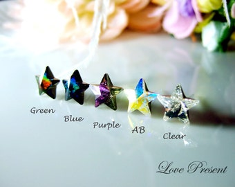 Supreme Swarovski Crystal Stud Super Star Earrings - Chic Jewelry - Hypoallergenic or Metal post - Choose your post and color