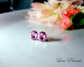 Swarovski Crystal Stud Button Earrings - Color Violet - Hypoallergenic or Metal post - Choose your post