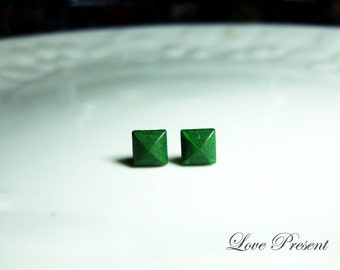 Rock N Roll and Punk  Pyramid earrings stud style - Color Green Fern Patina Verdigris