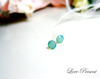 PIF - Swarovski Crystal Stud Tiny Teeny Cartilage Earrings - Color Green Pacific Opal - Hypoallergenic or Metal post - Choose your post