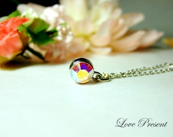 Bridesmaid Gift - Classic Elegant Necklace with Sparkly Swarovski Crystal - Choose your color