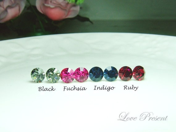4 Pairs - 15% OFF Colorful Elegant Swarovski Crystal earrings stud style - Choose your color