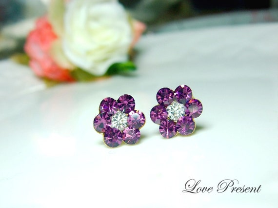 Colorful Cute Daisy Flower Swarovski Crystal earrings stud style (custom made color)