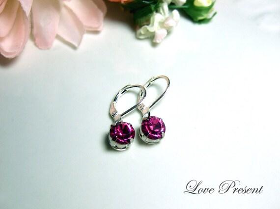Swarovski Crystal Classic Dangle & Chandelier BirthStone Earrings (Custom Made) - Color Full Birthstone, Black and Fuchsia
