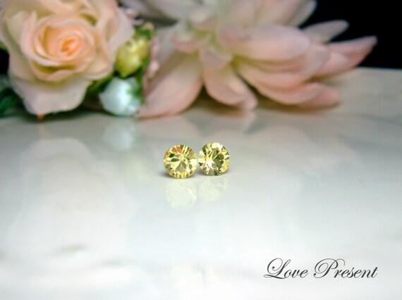 Swarovski Crystal Petite Stud Earrings Post - Minimal Simple Jewelry - Color Jonquil -  Hypoallergenic or Metal post - Choose your post