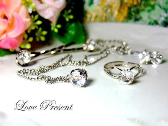 Deluxe Classic Necklace,Bobby Pin,Ring & Earrings Set with Sparkly Swarovski Crystal - Choose your color - SAVE USD 9 Set