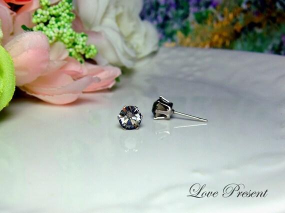 Swarovski Crystal 0.6cm Round Rhinestone Pierced Post Earrings - Modern Minimalist Jewelry for Everyday - Color Black Diamond Crystal