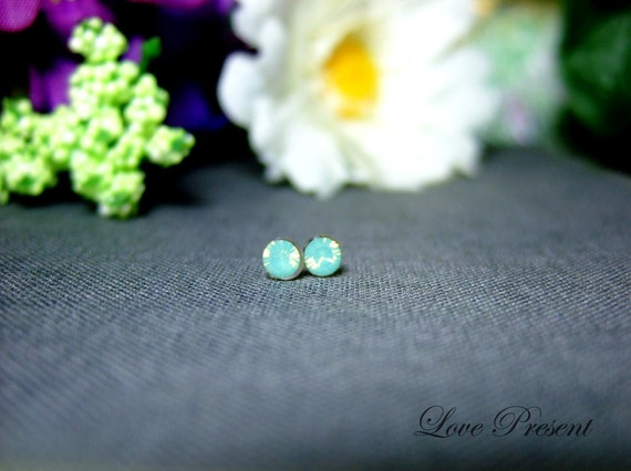 PIF Swarovski Crystal Stud Tiny Teeny Little Mini Cartilage Earrings - Color Pacific Green Opal - Hypoallergenic or Metal - Choose your post