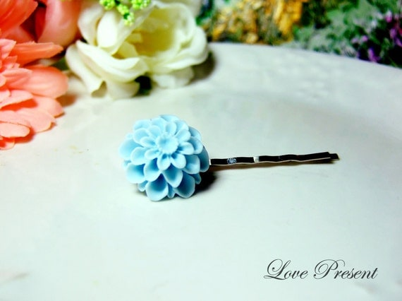 Grand Baby Blue Pompon Daisy Bobby Pin (Custom made) - Special Love Sales