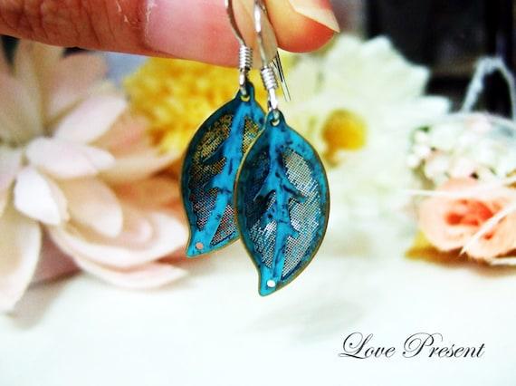 Patina Verdigris leaf hoop earrings - Choose your color