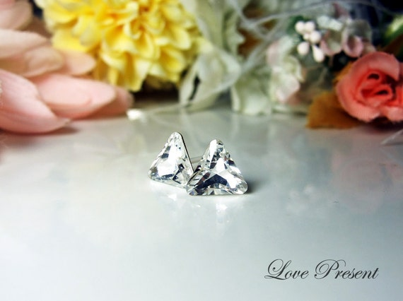 Grand Swarovski Crystal Stud Elegant Trillion Triangle Earrings - Color Clear Crystal - Hypoallergenic or Metal post - Choose your post