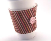 Coffee Sleeve Brown Pink and Orange Stripe Fabric for Women Girls Gals