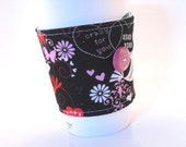 Coffee Sleeve Pink Birds and Hearts with Black and Adjustable Button