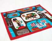 Pirate Chalkboard Mat Reusable Art Draw Toy Boy or Girl Blue Red Quiet Travel Toy