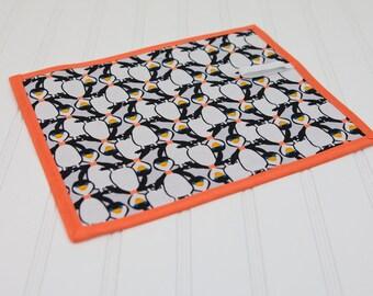 Penguins Chalkboard Mat Reusable Art Toy, Girls or Boys, Orange Black and White