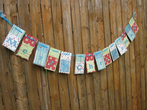 Merry Christmas Paper Banner Bunting Flag Fun and Funky