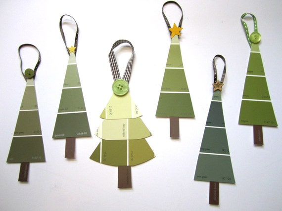 Christmas Tree Ornaments in Earth Green Tones, Upcycled Paint Chip, Set of 6