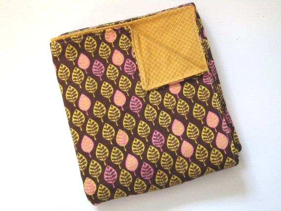 Baby Girl Flannel Swaddle Blanket Brown Pink and Mustard Yellow Leaf Print