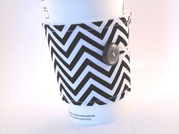 Coffee Sleeve Chevron Black White Reusable Fabric Coffee Cozy