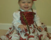 Childrens Handmade Christmas Knot Style Dress by Tew Proud Mums - Lightly Worn Once, On Clearance