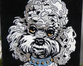 Poodle Paint by Number PBN Black Velvet Painting vintage dog head