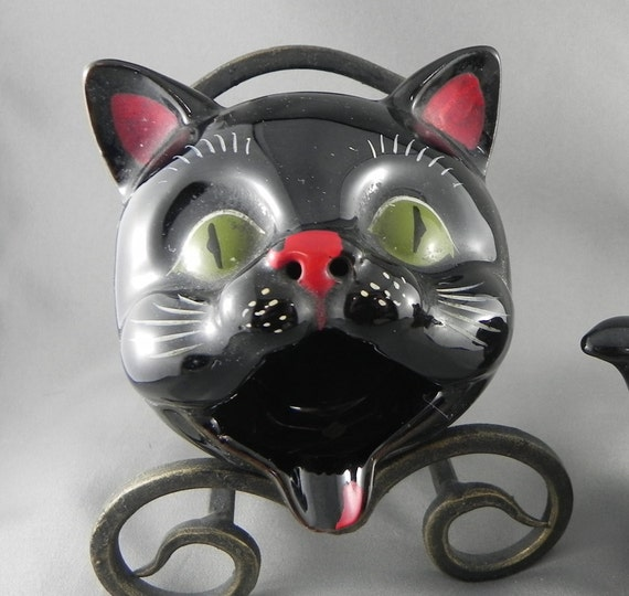Red Ware Black Cat Ashtray and Salt Shaker redware pottery
