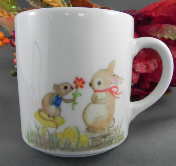 Easter Bunny Rabbit Squirrel Hand Painted Mug Coffee handpainted signed