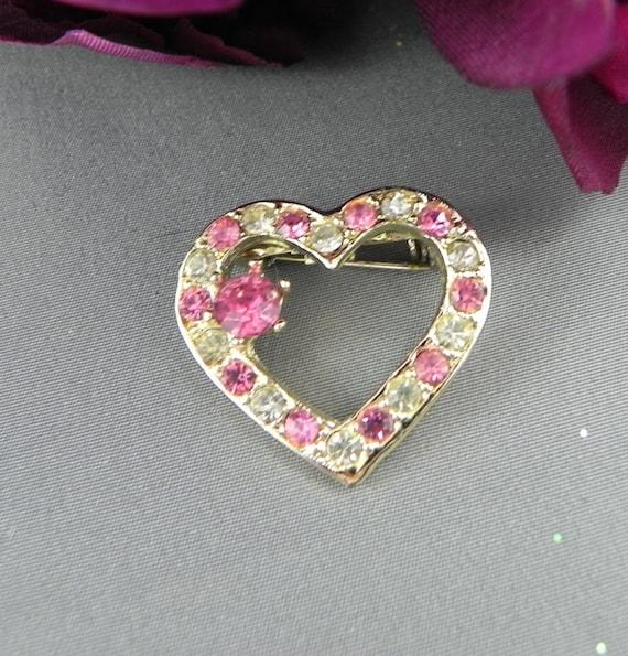 Pink Heart Rhinestone Brooch VALENTINES vintage Bling