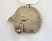 Sleeping dog. Adorable gold and silver pendant. Free shipping.