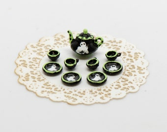 Halloween Quarter Scale Ghost Black/Green Tea Set