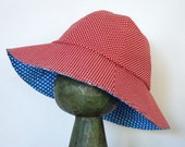 Reversible Children's Sun Hat (3-5 years) - Blue Polkadot and Red / White Cross Hatch