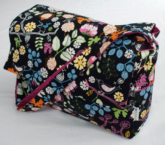 Diaper / Lge Messenger / Nappy Bag - The Woodstock bag with fuschia lining