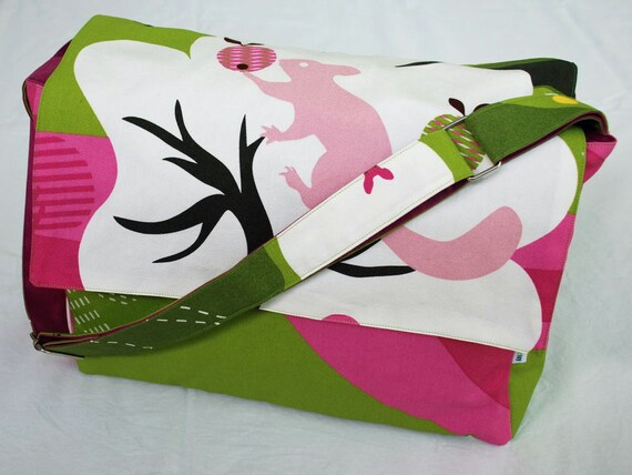 Diaper / Lge Messenger / Nappy Bag - The Juggling Squirrel with fuschia lining