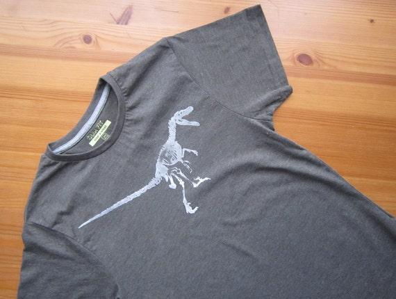 SALE Velociraptor Dinosaur Screen Printed Tshirt XS