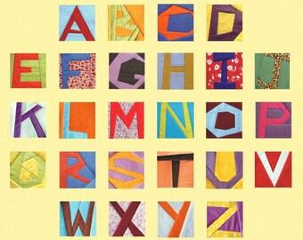 """Paper piecing quilt  blocks alphabet letters paper foundation 5"""" Instant DOWNLOAD PDF"""