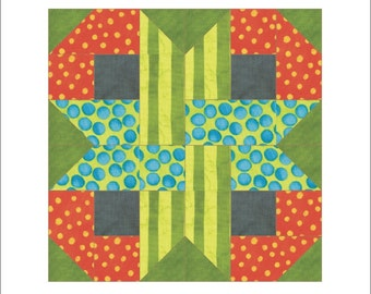 Four stripes knot quilt block Paper pieced PDF Pattern INSTANT DOWNLOAD