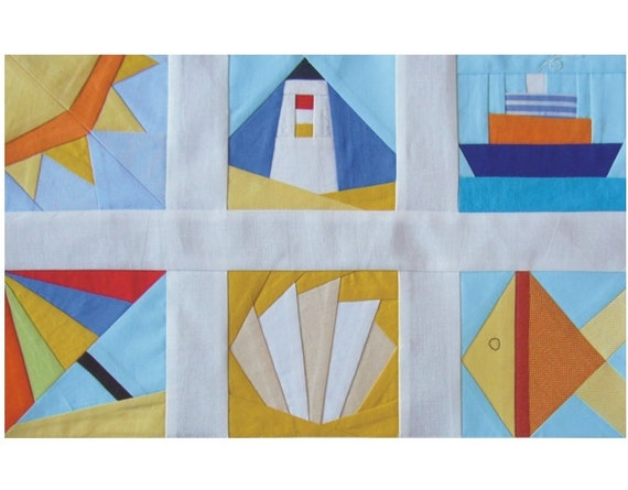 Beach paper pieced pdf patterns quilt blocks ship shell for Spaceship quilt