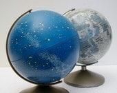 Vintage Globe Duo - Moon and Stars - Moon Globe Bank and Celestial Globe - Hard to Find - TREASURY PICK