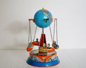 Vintage 1950'S World Globe Ride - Blomer & Schuler Clockwork Tin Litho Swing Ride - TREASURY PICK
