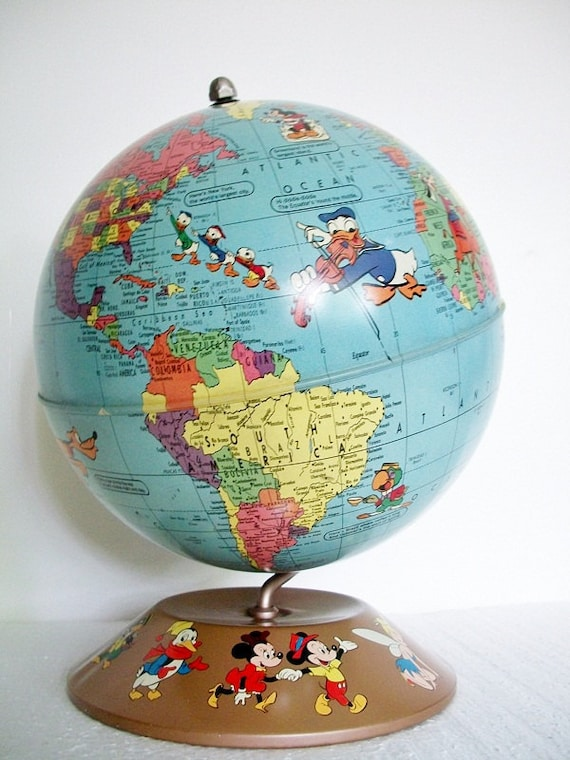 Vintage 1950s  World Globe -  Disney Characters- Excellent Condition - TREASURY PICK