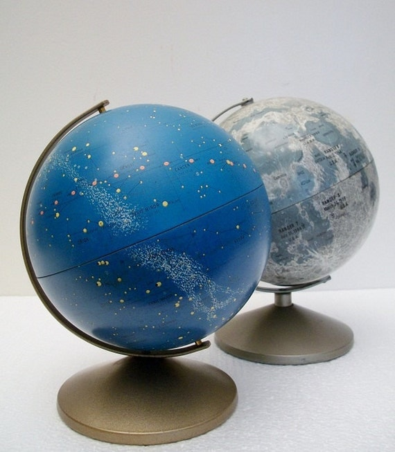 Vintage Globe Duo - Moon and Stars - Moon Globe Bank and Celestial Globe - Hard to Find - TREASURY PICK
