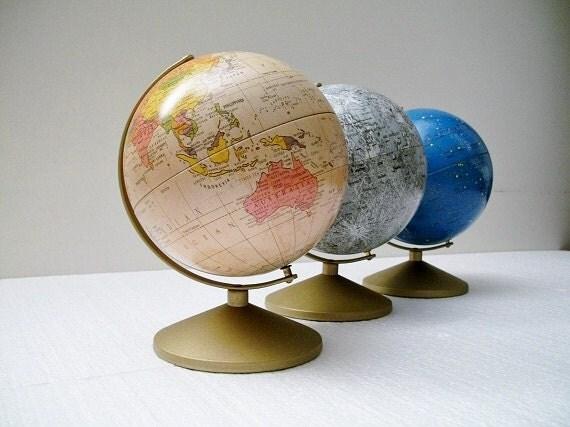 Vintage Globe Trio - Earth,  Moon and Stars - Moon and Celestial Globes and Earth Globe Bank - TREASURY PICK