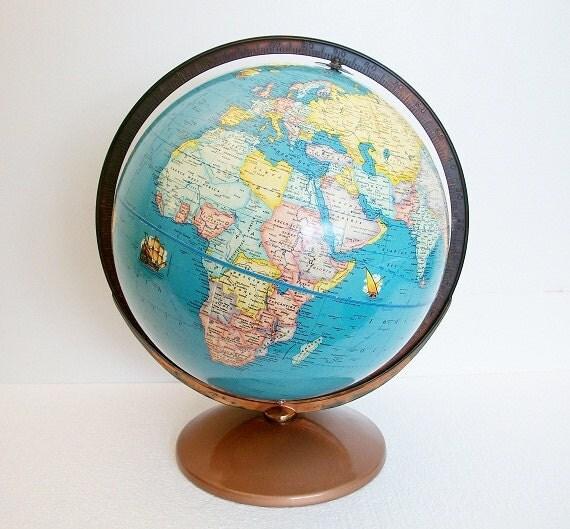 Vintage Globe - 1949 Nautical Themed Art Globe - Rand McNally - TREASURY PICK